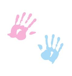 handprint of girl and boy vector image