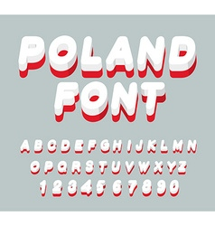 Poland font Polish flag on letters National vector image vector image