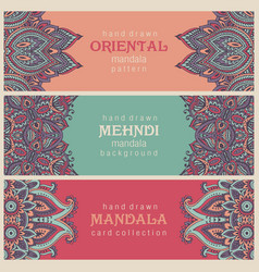 set of three horizontal cards or flyers with vector image