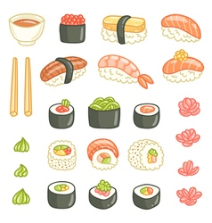 Sushi and rolls collection vector image