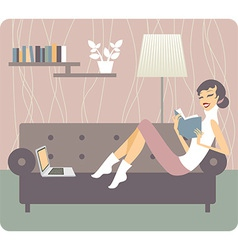 Woman reading book at home vector image