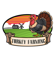 cartoon turkey farming vector image