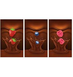 dark chocolate splash with strawberry vector image