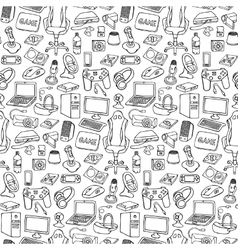 Gamer doodle seamless pattern vector image