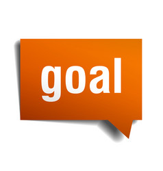 goal orange speech bubble isolated on white vector image vector image