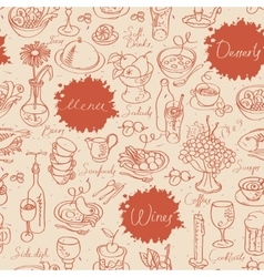 seamless texture with food and drink vector image vector image