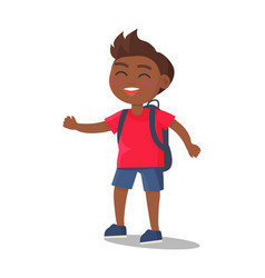 Smiling kid in t-shirt jeans shorts with rucksack vector