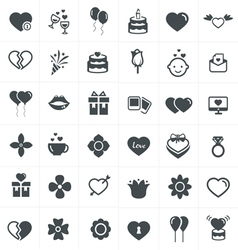 valentine icons set vector image