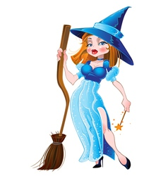 Witch in blue dress vector image vector image