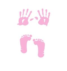 Baby girl handprint footprint vector