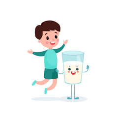 cute boy having fun with humanized glass of milk vector image