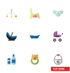 Flat icon baby set of pram stroller rattle and vector