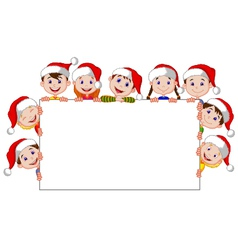 Kids cartoon with a blank sign and christmas hats vector image