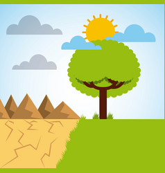 landscape divided green meadow tree and desert vector image