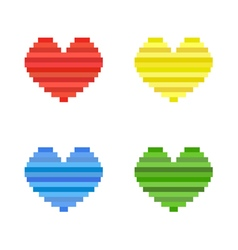 set of pixel art heart flat design symbol of love vector image vector image