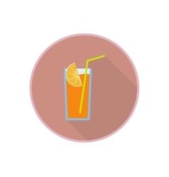 symbol of fresh orange juice cocktail Flat vector image
