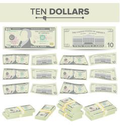 10 dollars banknote cartoon us currency vector