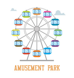 Amuzement park concept ferris wheel isolated vector
