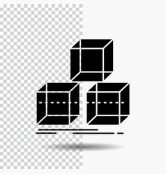Arrange design stack 3d box glyph icon on vector