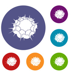 atomic explosion icons set vector image