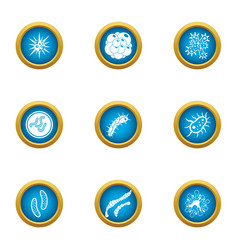 Attack of the microbe icons set flat style vector