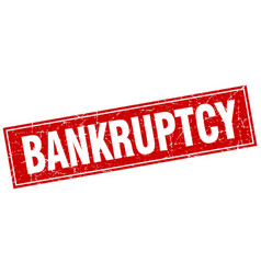 Bankruptcy red square grunge stamp on white vector