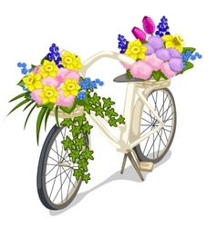 Bicycle decorated with flowers on white background vector