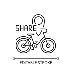 Bicycle sharing system linear icon vector
