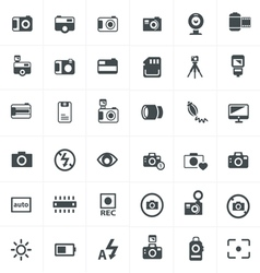 black camera icon set on gray vector image