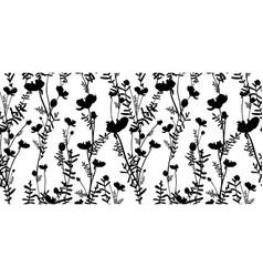 Black shadow flower on white summer seamless vector