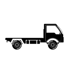 black silhouette truck transport with wheels vector image