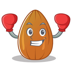 Boxing almond nut character cartoon vector
