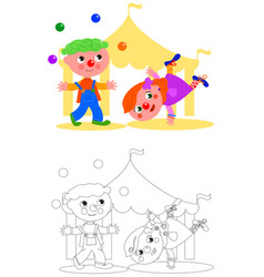Boy and girl funny clown vector