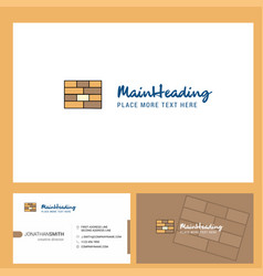 bricks wall logo design with tagline front and vector image