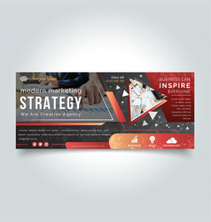 business strategy facebook cover banner vector image