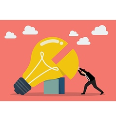 Businessman pushing missing piece in big lightbulb vector image