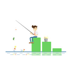 businessman with fishing rod icon vector image