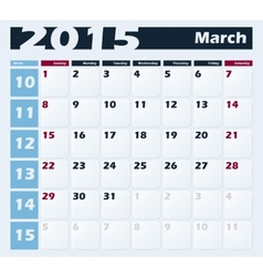 Calendar 2015 March design template vector image
