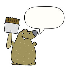 Cartoon bear and paint brush and speech bubble vector