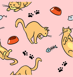 cartoon cats colorful seamless pattern vector image