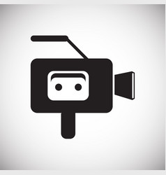 Cassete tape vide camera icon on white background vector