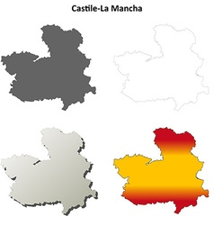 Castile-la mancha blank outline map set vector