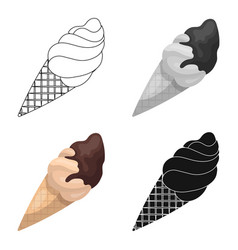chocolate ice-cream icon in cartoon style isolated vector image