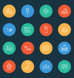 city icons line style set with swimming pool vector image