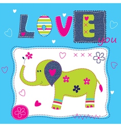 Cute baby background with elephant vector image