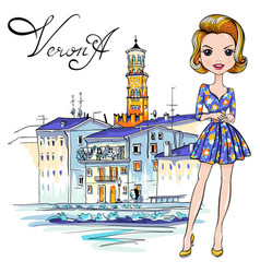 Cute fashion girl in in verona italy vector