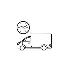 delivery truck with clock hand drawn outline vector image