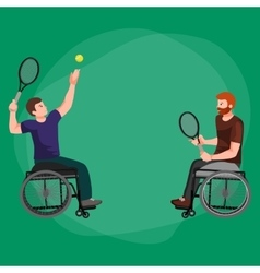 Disabled Athlete On Wheelchair Play Tennis Sport vector image