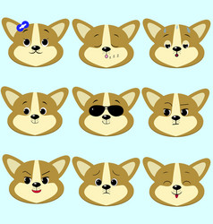 dog corgi smiley a set of different emotions vector image
