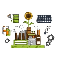 Eco friendly factory with energy saving symbols vector